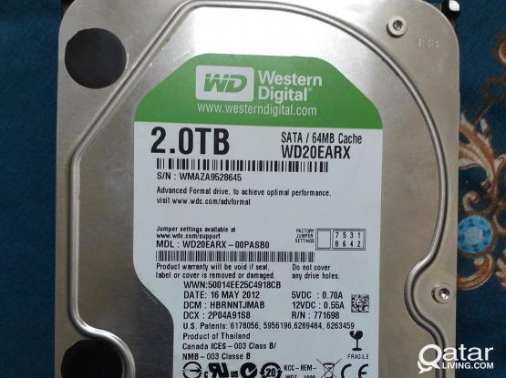 Hard disk 2tb for desktop  wd green with win10 genuine ms office