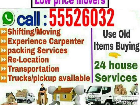 LOW PRICE Moving Shifting packing Carpenter Transportation Service  Please Call or WhatsApp-55526032