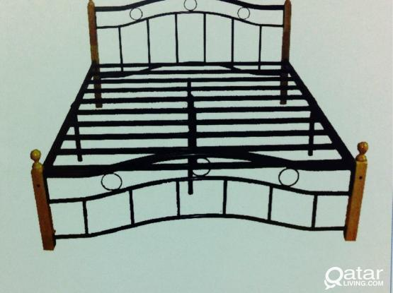 Steel double bed with mattress