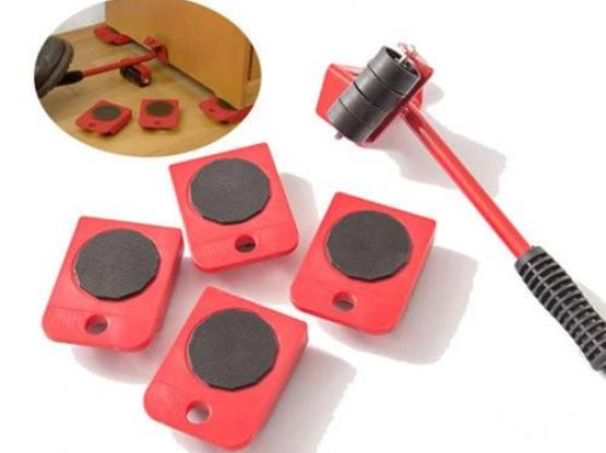 5Pcs/set Furniture Heavy Stuffs Mover Lifting Tool - 4 Wheeled Mover Roller+1 Wheel Bar