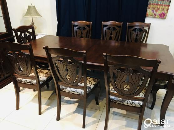 Wooden Dining table with 8 chair and Buffee for sale