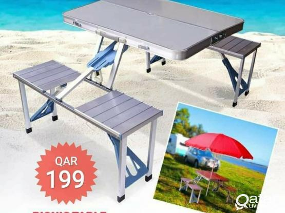 Outdoor Multifunctional Picnic Table, Aluminium With Foldable 4 Seats