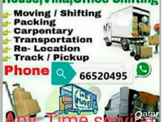 Moving packing House villa office shifting carpenter moving removing pickup track transfort any time call, 66520495