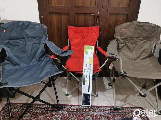 Camping chair and camping light