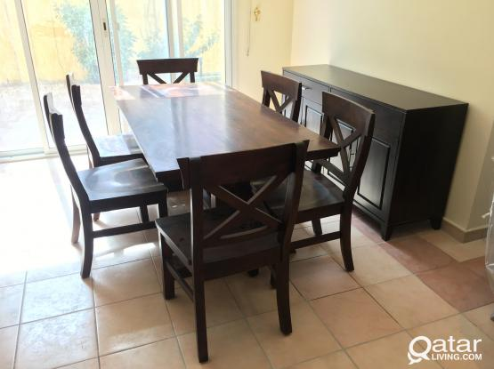 Wooden Dining table with 6 chair and Buffee