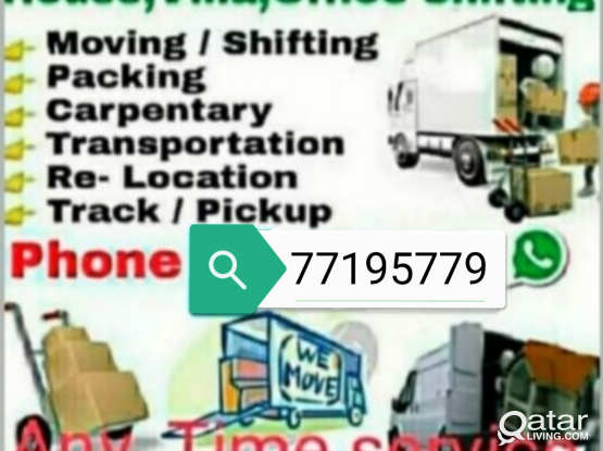 Moving packing House villa office shifting carpenter moving removing pickup track transfort any time call, 77195779