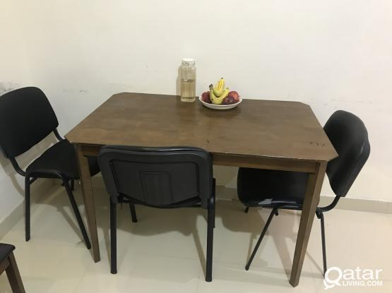 Wooden Dining Table With 3 Chair