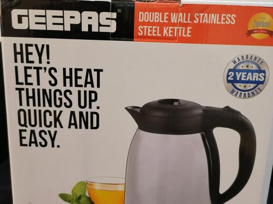 DOUBLE WALL STAINLESS STEEL KETTLE.