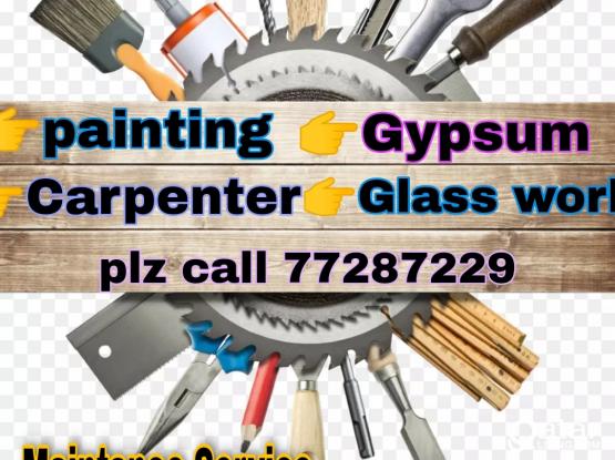 Gypsum Partition, Carpenter, painting please call 77287229