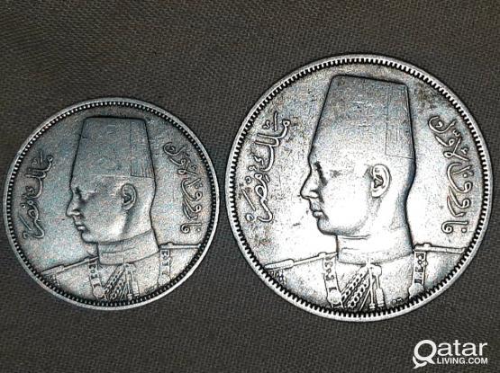 Silver Egypt kingdom coins 1939