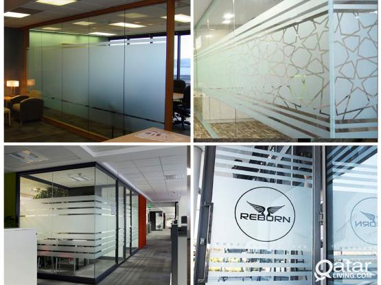 Glass Sticker, Frosted Film, Sandblasting Sticker  supply and installation