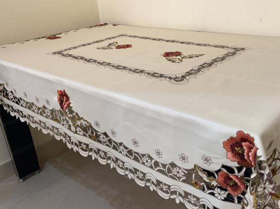 Dining table cover- cutwork/ embroidered