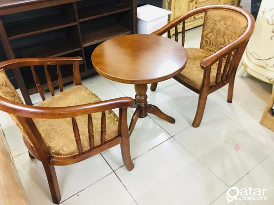 For sell wooden 2 chair & coffee table