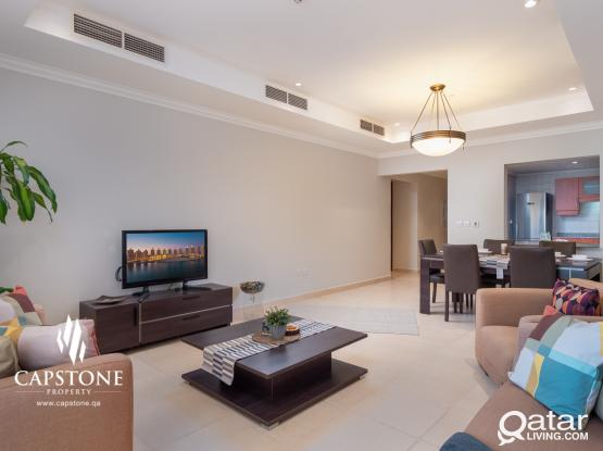 LOWEST RATE! Fully Furnished 2BR + Sea View