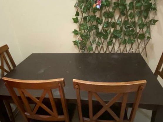 Wooden Table with 4 chairs -350Qar