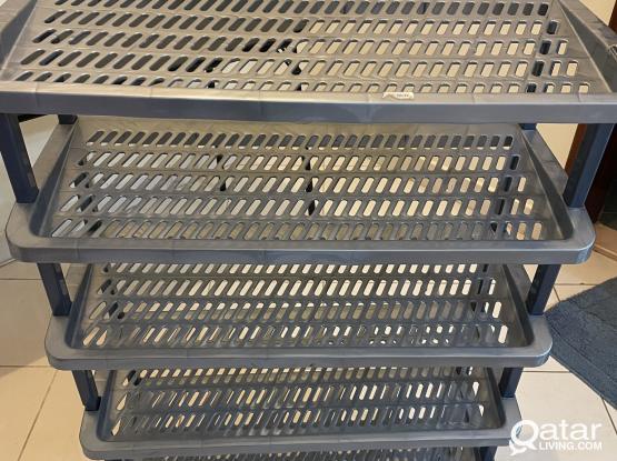 Shoe rack - plastic - stackable