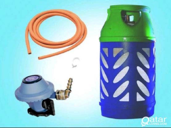 Gas cylinder with hose and regulator