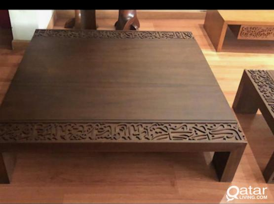 Square coffee table with arabic calligraphy carving