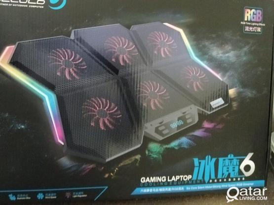 Brand New Gaming Style Adjustable Laptop Cooling Pad with 6 Fans