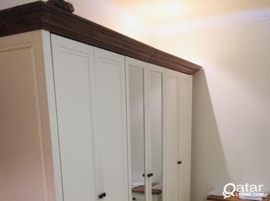 Cupboard 6 Door , Bed with Mattress ,Dressing table, drawers
