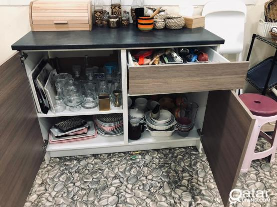 ikea table top and cupboard