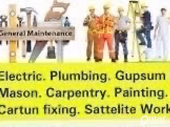 Electric plumbing call=70266943 cctv gypsum partition painter electrician plumber all building maintenance working