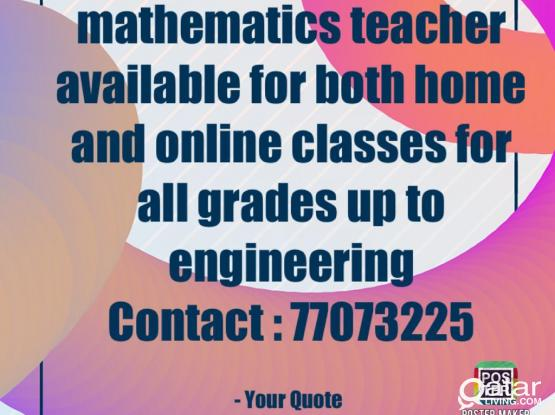 Maths TuitionTEACHER  available AT location @ 77073225