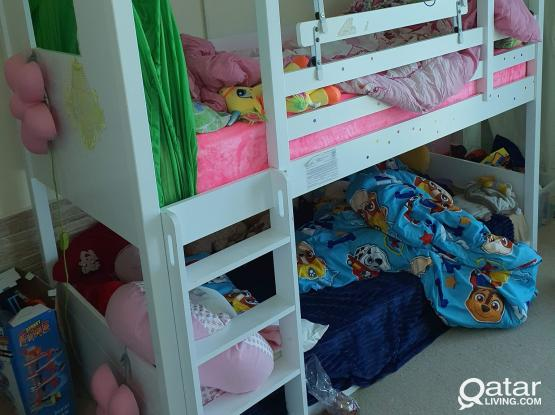 Bunk bed for children with mattresses