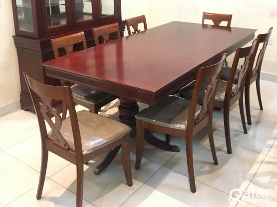 Wooden Dining table with 8 chair and Buffee cabinet for sale