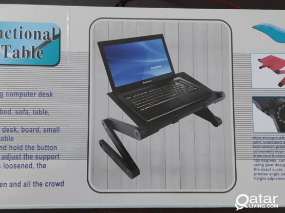Adjustable Aluminum Multifunction Laptop Table with 2 cooling fan and Mouse Pad
