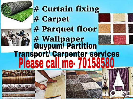 We are making fixing curtain/carpet&plastic sell&Fix please call me- 70158580