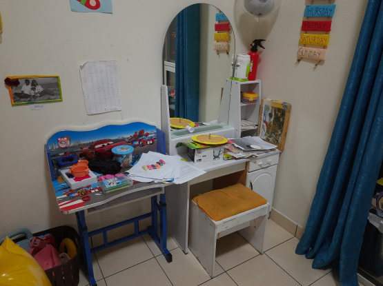 Kids dressing table with stool and study table