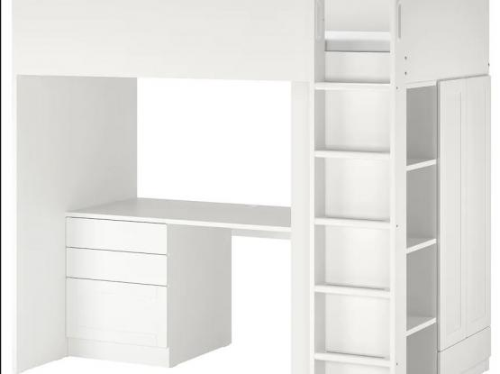 Loft bed, white with frame/with desk with 4 drawers