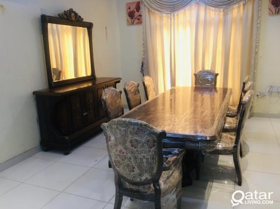 Nabco Used Dining Table with 8 chair and Buffee For Sell
