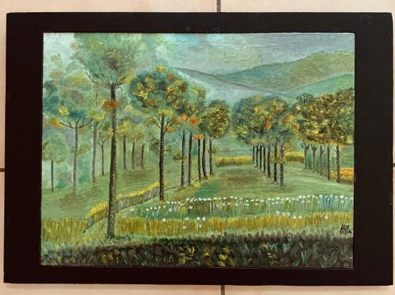 Ready to hang Oil Painting on Canvas Board with frame - Autumn forest