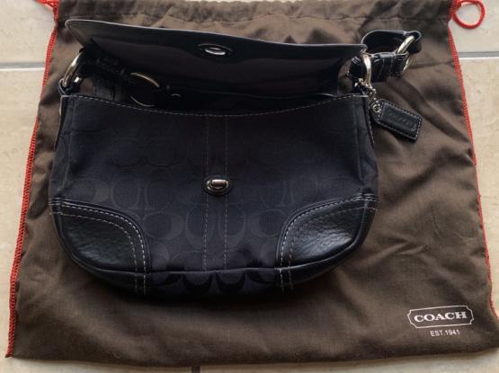 Coach Authentic Handbag. Black Leather / Fabric.