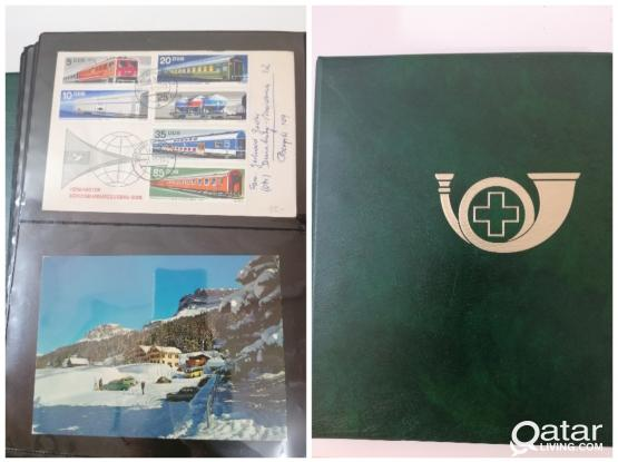 Train theme stamps with cover