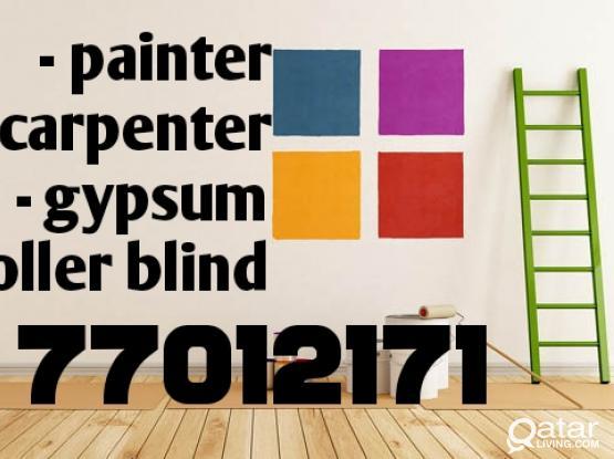 Painter - carpenter - gypsum - roller blind - parkia wood =77012171