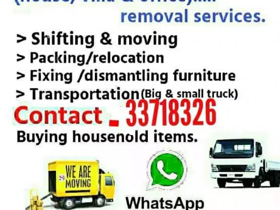 All kinds of Shifting & Moving works. Best price & Best service. We also provide transportation & Carpentry. Please call or whatsapp 33718326