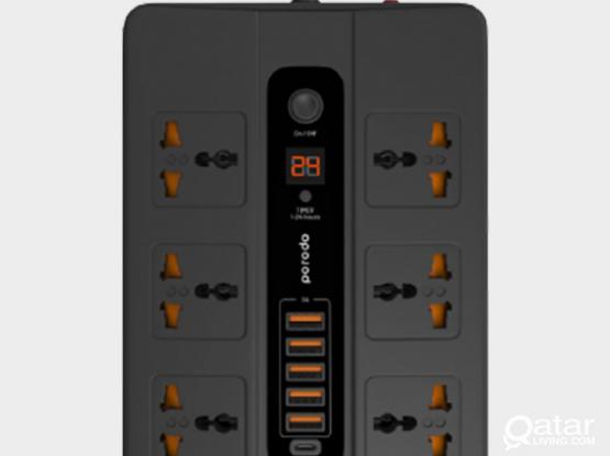 Porodo 5 Multi-Port Super Hub 5 USB, 6 AC Output, 1 USB-C PD – Black