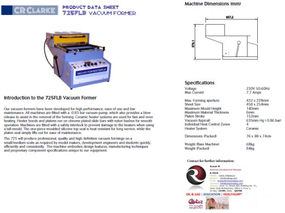 Vacuum Former - CR CLARKE 725FLB 230V - Brand New