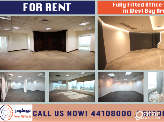 FULLY FITTED OFFICE SPACE SEA VIEW AT WEST BAY AREA - FOR RENT