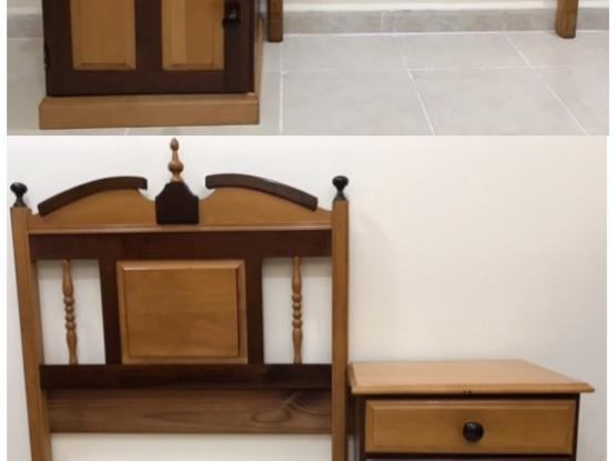 2x  Single-bed Headboard And Bedside Cabinet Set.