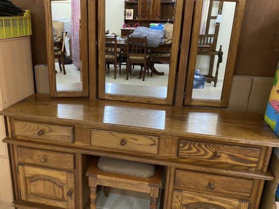 Solid Oak Dresser And Stool