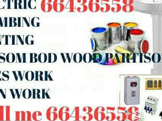 Painting gypsum bod glass partition plumbing new room making maintenance work 66436558