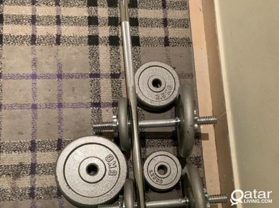 Weight set for home gym with 2 short bars and 1 long bar