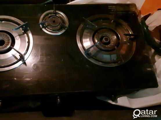 3 Burner Glass Stove, Cylinder + Regulator + Pipe