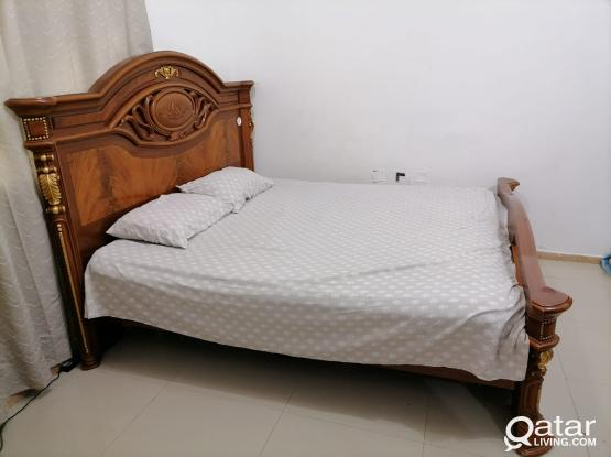 King Size Cot ( Bed ), Cupboard,   (Free Mattress, Side Table & Mirror)