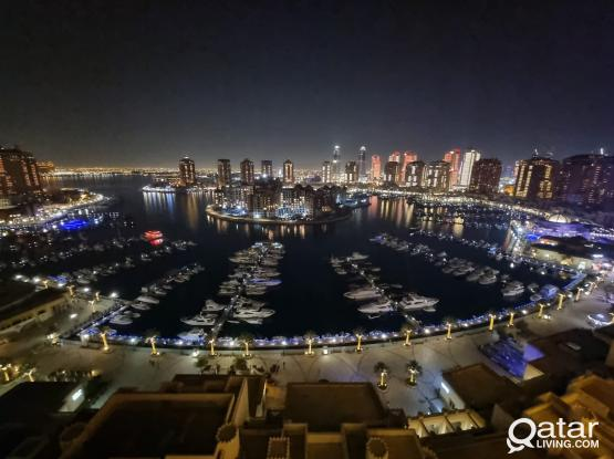FULL MARINA VIEW! 2 bedrooms apartment for rent in Pearl (1508)