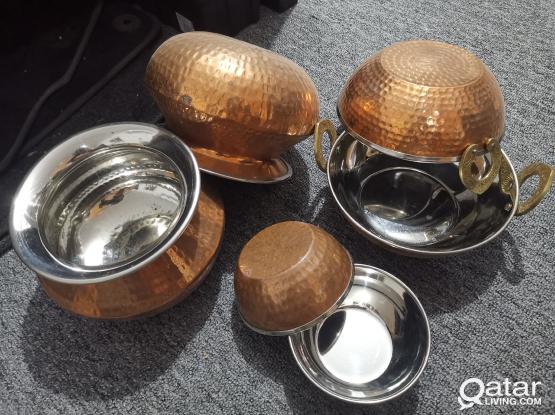 Copper Kadai + Handi + Katori